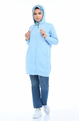 Sweatshirt mit Reissverschluss 0723-04 Blau 0723-04
