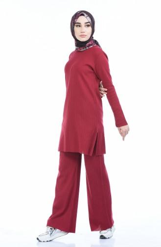 Fitilli Tunik Pantolon İkili Takım 4093-01 Bordo