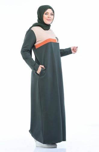 10009-03 فستان رياضي مقاس كبير كاكي 10009-03