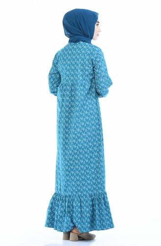 Büzgülü Elbise 1285-02 Petrol 1285-02