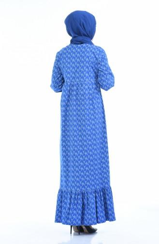 Büzgülü Elbise 1285-05 Mavi 1285-05