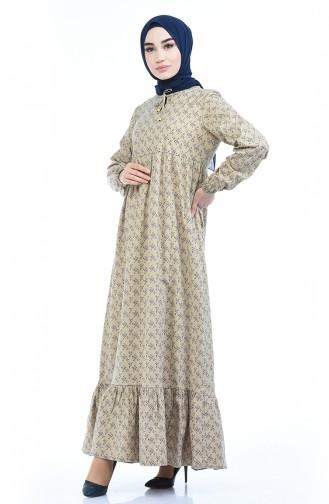 Büzgülü Elbise 1285-07 Vizon 1285-07