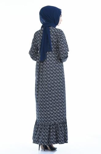 Büzgülü Elbise 1285-08 Lacivert