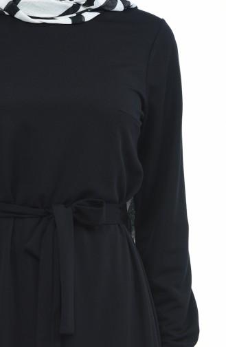 Gerafftes Kleid mit Band 1013-01 Schwarz 1013-01