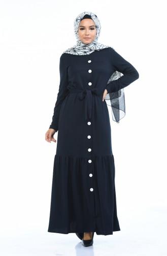 Navy Blue İslamitische Jurk 1014-03