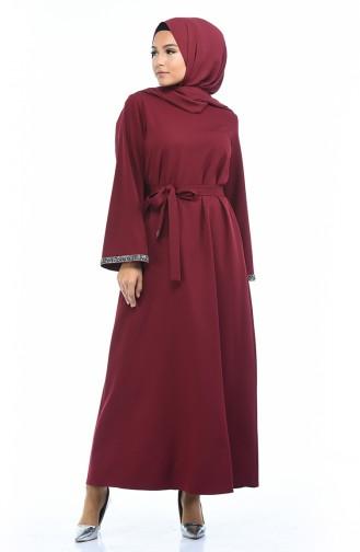 Stein-detailliertes Kleid mit Band 0887A-05 Weinrot 0887A-05