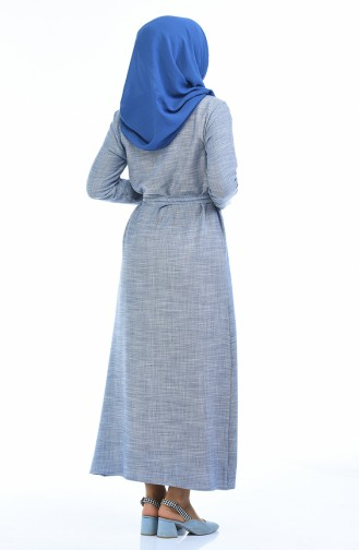 Robe a Ceinture 6015-03 Bleu 6015-03