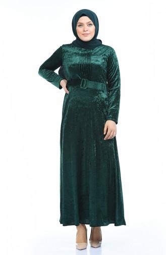 Robe Velours Grande Taille 4491-02 Vert emeraude 4491-02