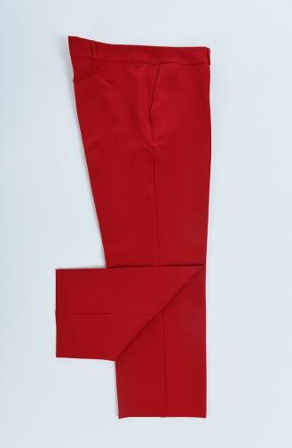 بنطال احمر موديل مستقيم مع جيوب مقاس كبير 20005A-01