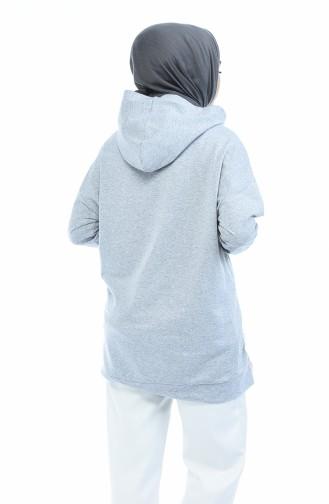 Bağcıklı Sweatshirt 0731-01 Gri 0731-01