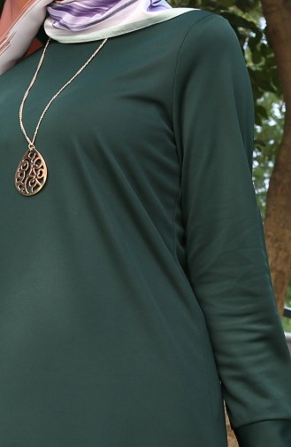 Kolyeli Tunik 2257-05 Zümrüt Yeşili