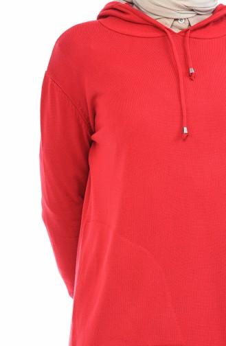 Triko Kapüşonlu Uzun Tunik 1822-07 Kırmızı 1822-07