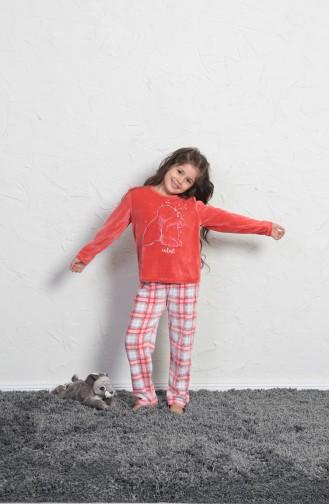 Kız Çocuk Uzun Kol Pijama Takımı 705004-01 Mercan