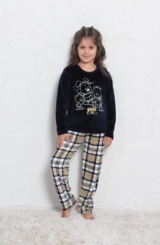 Kız Çocuk Uzun Kol Pijama Takımı 705008-02 Lacivert