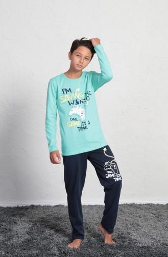 Jungen Langarm Schlafanzug Set 705010-01 Minzengrün 705010-01