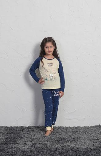 Kız Çocuk Uzun Kol Pijama Takımı 705166 Açık Sarı 705166