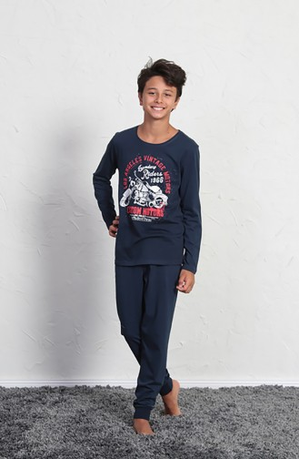 Erkek Çocuk Uzun Kol Pijama Takımı 706021 Lacivert 706021