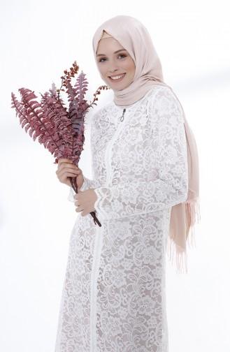 Fermuarlı Dantel Ferace 9029-07 Beyaz