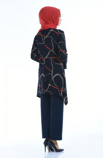 Ensemble Deux Pieces Tunique Pantalon a Motifs 5256-01 Bleu Marine 5256-01
