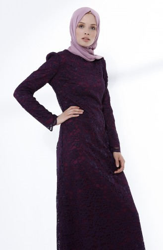 Damson Islamic Clothing Evening Dress 9027-02