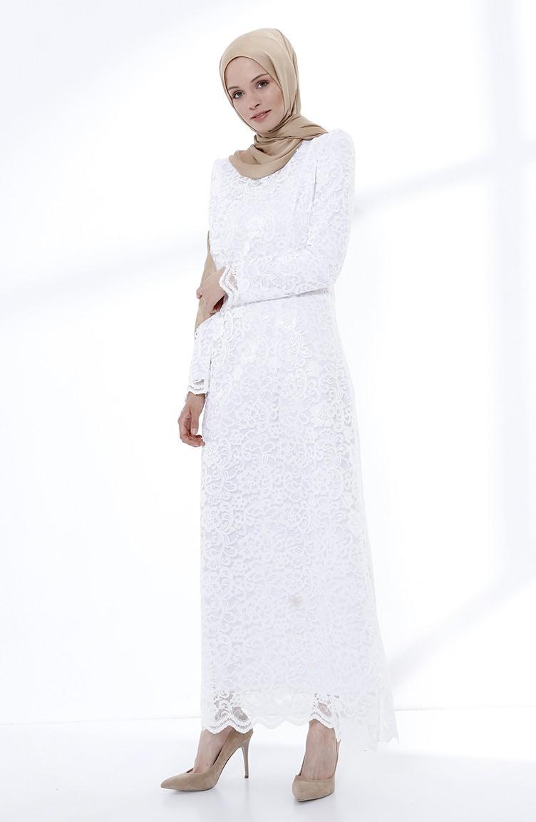 Weiß Hijab-Abendkleider 9027-04 | Sefamerve