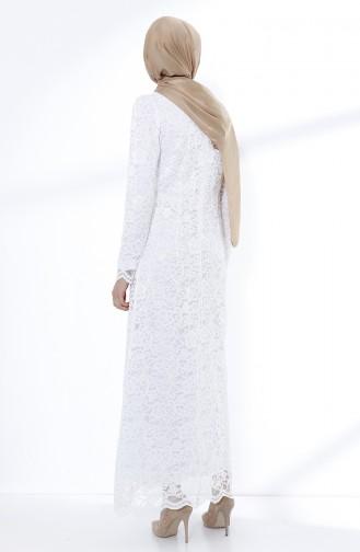 White Islamic Clothing Evening Dress 9027-04