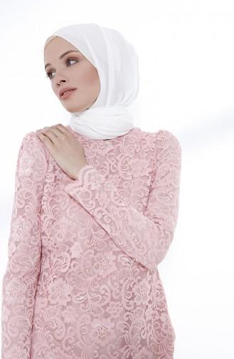Powder Islamic Clothing Evening Dress 9027-05