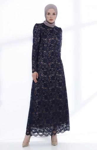 Robe de Soirée a Dentelle 9027-07 Bleu marine 9027-07