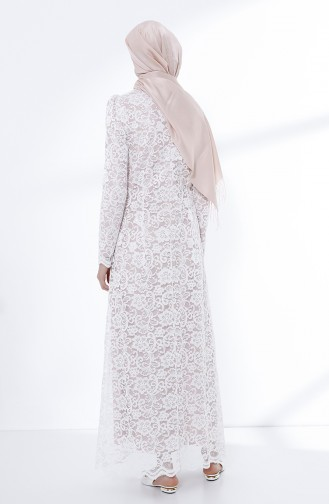 White Islamic Clothing Evening Dress 9027A-04