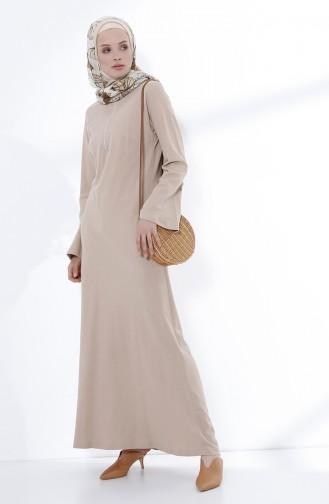 Fermuarlı Örme Elbise 5044-06 Bej