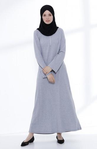 Fermuarlı Örme Elbise 5044-05 Gri