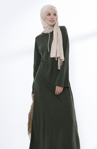Zippered Knit Dress 5044-02 Khaki 5044-02