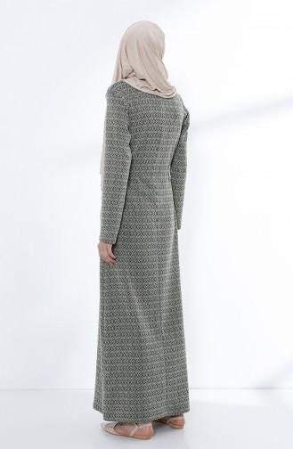 Beli Büzgülü Elbise 5045-03 Yeşil