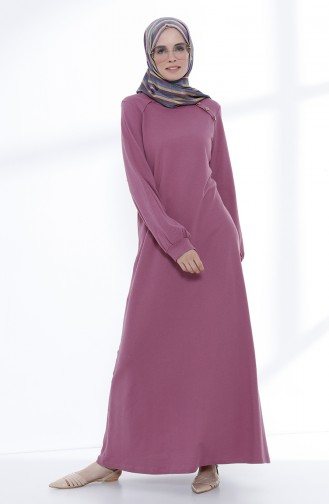 Düğme Detaylı Örme Elbise 5047-10 Gül Kurusu