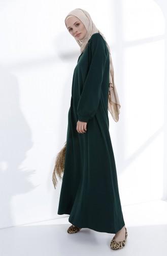 Düğme Detaylı Örme Elbise 5047-08 Zümrüt Yeşili