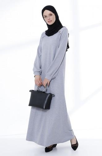Düğme Detaylı Örme Elbise 5047-04 Gri