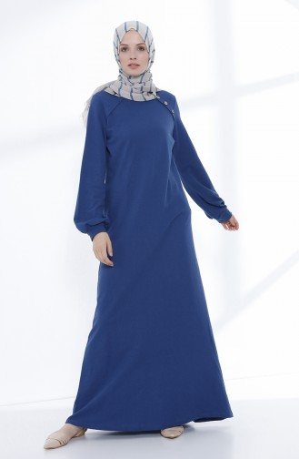 Düğme Detaylı Örme Elbise 5047-02 İndigo