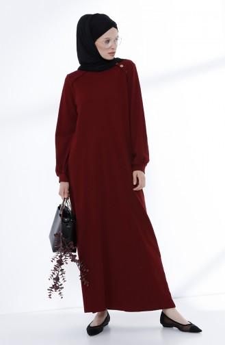 Düğme Detaylı Örme Elbise 5047-01 Bordo