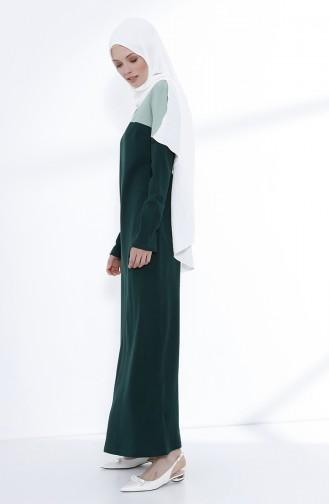 Garnili Örme Elbise 5035-02 Zümrüt Yeşili Mint Yeşili