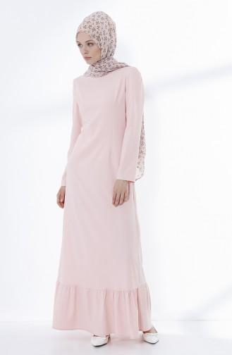 Eteği Büzgü Detaylı Elbise 9031-02 Pudra