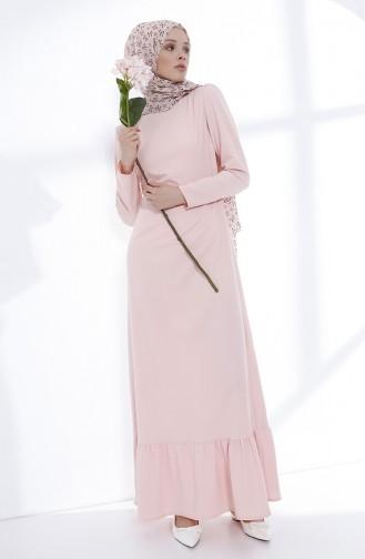 Büzgülü Elbise 9041-02 Pudra