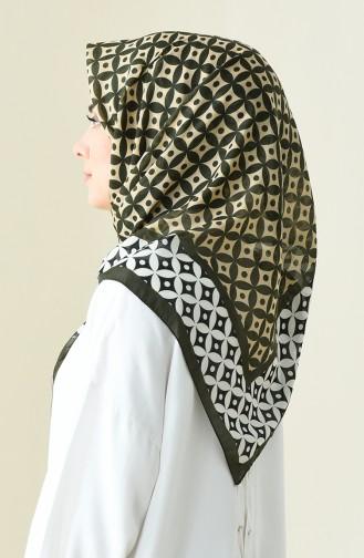 Khaki Patterned Cotton Scarf 901528-01