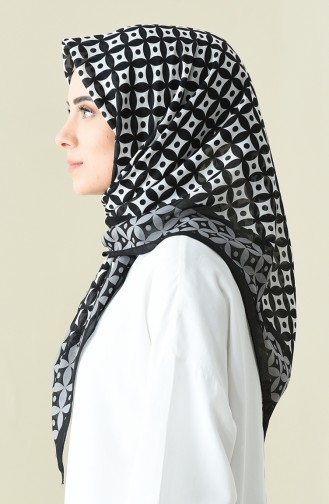 Black Gray Patterned Cotton Scarf 901528-04