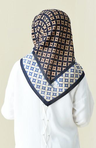 Navy Blue Beige Patterned Cotton Scarf 901528-11