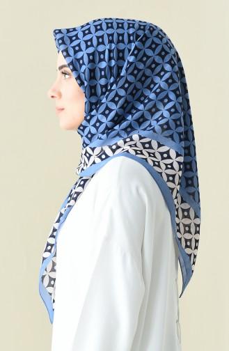Sky Blue Patterned Cotton Scarf 901528-14