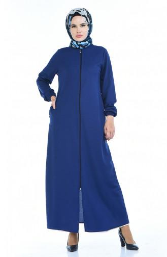 Abaya mit Gummi 6666A-02 Indigo 6666A-02