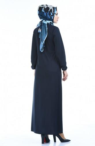 Abaya mit Gummi 6666A-08 Dunkelblau 6666A-08