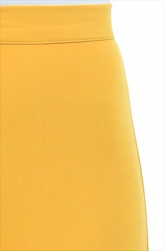 Düğmeli Düz Paça Pantolon 1102-23 Hardal