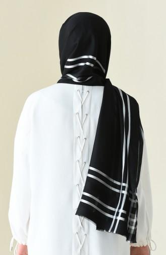 Abiye Floş Şifon Şal 13100-02 Siyah 13100-02
