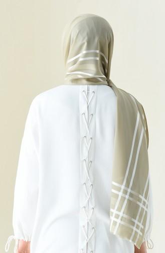 Abendkleid Chiffon Schal 13100-08 Grau Weiss 13100-08